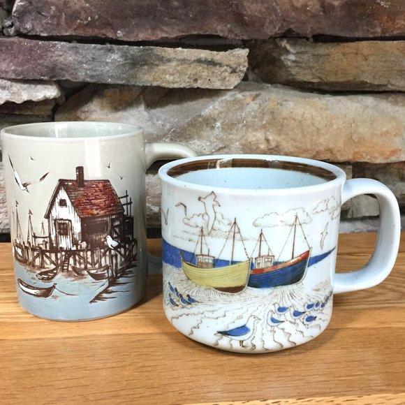 VTG Mugs Seaside Fishing Boats Seagulls Lot 2